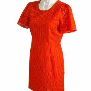 J Crew Flutter Sleeve Eyelet Dress 8 F1724 Orange